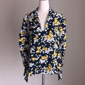 Tiimo butterfly & daisies blouse yellow white Sz.M